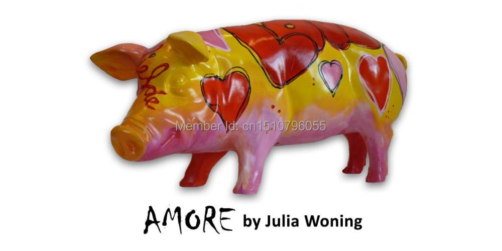 "Polyresin Art Pigs Collectible pigs Umělecká prasata sochy ""Amore"""
