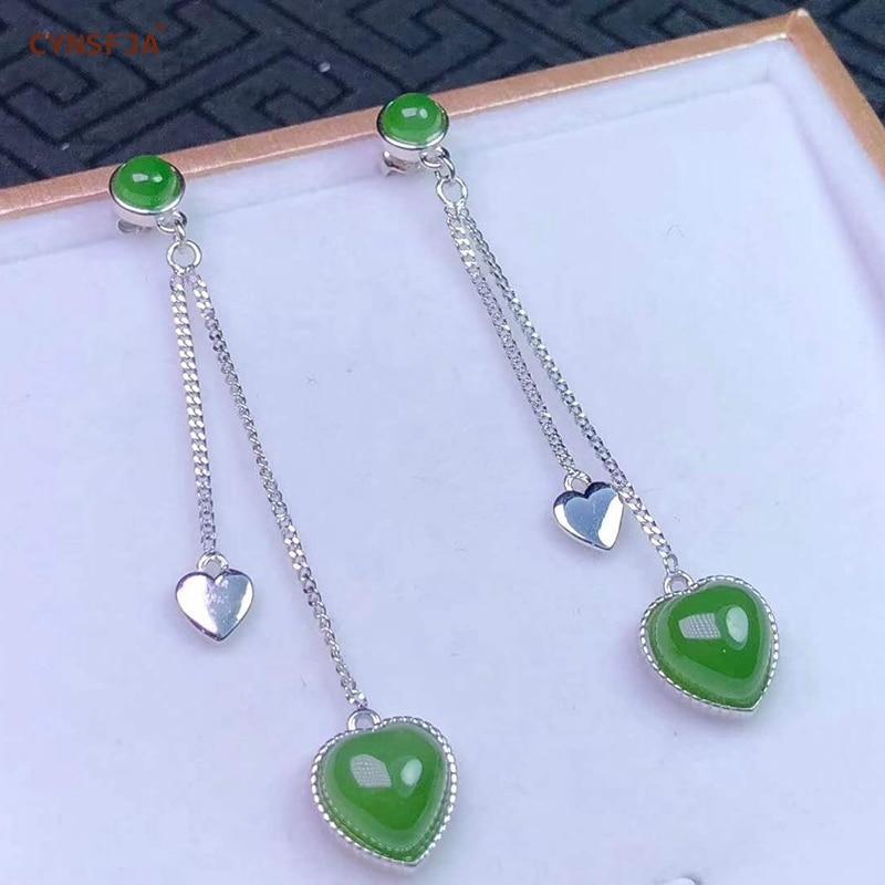 Certificado Natural Hetian Jasper Embutidos 925 Sterling Silver Sorte Coração Brincos de Jade Verde Esculpida À Mão de Alta Qualidade Os Melhores Presentes