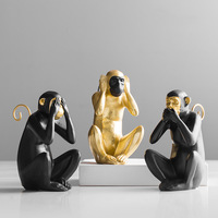 New American Creative Lucky Monkey Mascot Sculpture Home Decoration Accessories Desktop Living Room Office Gold Figurine Decor