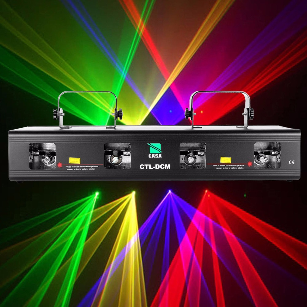 (Ship from AU)  460mW 4 Lens 4 Beam Four head Laser Light Stage Light DMX 7CH RGPY DJ Disco Party Club Effect Lighting System rg mini 3 lens 24 patterns led laser projector stage lighting effect 3w blue for dj disco party club laser