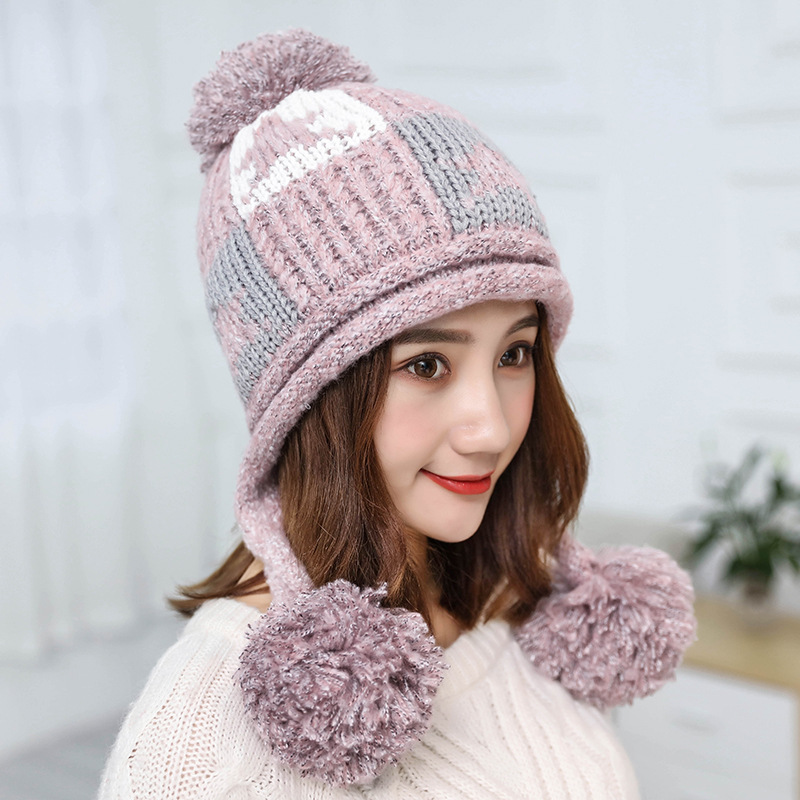 Winter   Beanies   Women Knit Hat Winter Hats For Women Ladies Girls Caps Balaclava Pompom Bonnet Warm   Skullies     Beanies   Hat