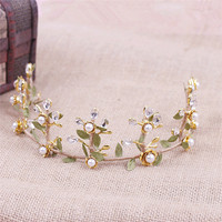 Continental Baroque Vintage Crown Pearl Bridal Tiara Gold Hair Accessories Bridal Accessories 9793