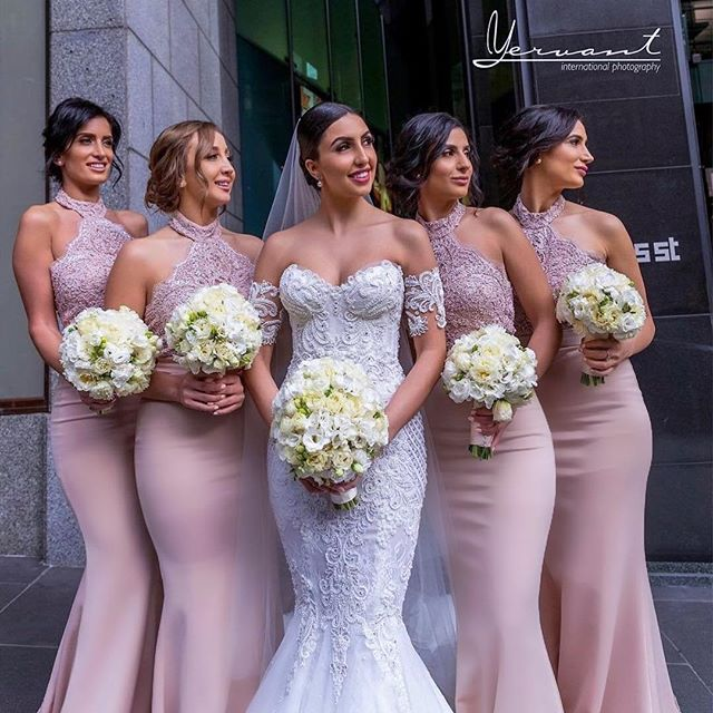 Robe demoiselle d'honneur Mermaid Pink Lace Bridemaid Dresses 2019 Halter Sexy Backless Appliques Formal Party Gowns
