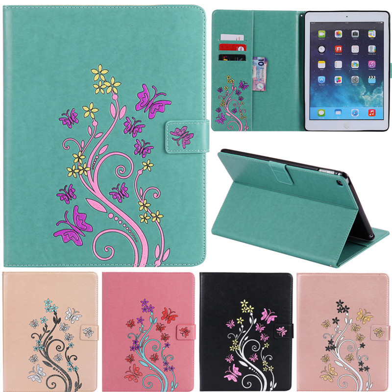 For iPad Air 2 Ipad 6 Case Cartoon Colorful Flower Butterfly Leather Flip Cover Cases For Apple Air2 iPad6 Ipad 6 Tablet Case