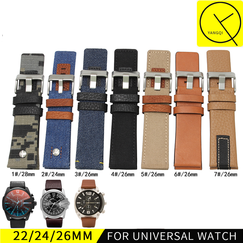 Canvas Leather WatchBand for Diesel DZ7313 DZ7311 DZ7312 DZ7315 DZ1748 Cow boy Man Sport Watch Strap Man 24mm 26mm 28mm+ Tool ...