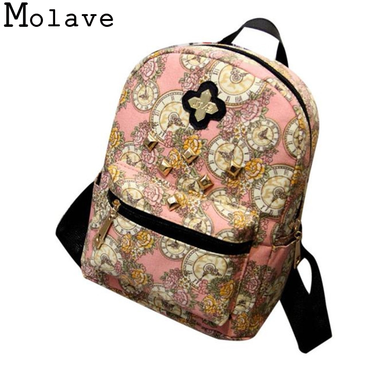 Women Fashion School Bags Clock Flowers Girls Backpack Canvas Bags Female Travel Backpacks Ladies Zipper Bags La mochila Nov25 2017 harajuku style galaxy cosmos zipper canvas women men backpacks printing school bags teens girls boys travel large mochila