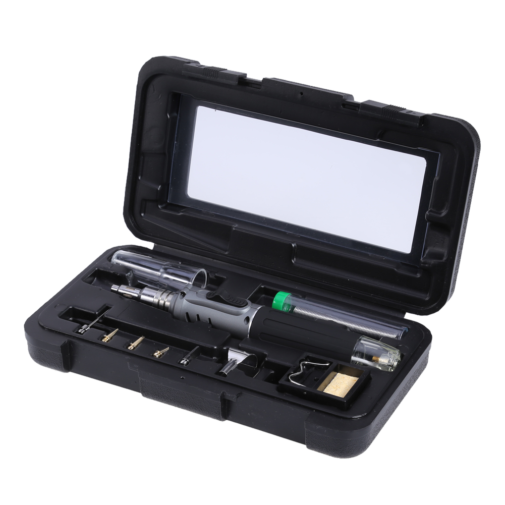 10 in 1 HS-1115K Self-ignition Wireless Gas Soldering Iron Cordless Welding Torch Kit Tool Ignition Butane Gas Burner for Solder hs 1115k 10 in 1 kit cordless welding tools heat gun professional gas soldering iron butane welding gas torch