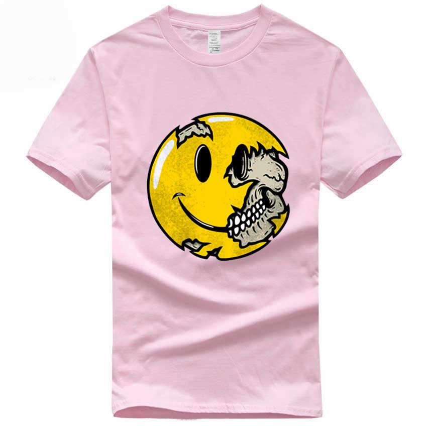 Череп смайлик выражение евро размер 100% хлопок футболка Летняя Повседневная О-образным вырезом короткий рукав Футболка для мужчин и женщин GMT038