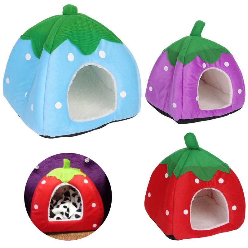 Cute Strawberry Pet Bed Dog Cat Kitten Puppy Cave Kennel House With Mat Foldable Aug30