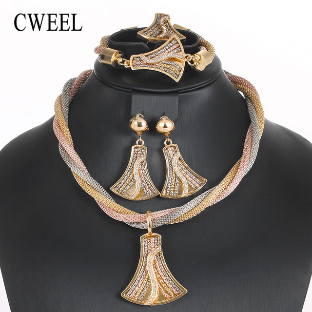 CWEEL Jewelry Sets Dubai Bridal Indian Wedding Jewellery For Brides African Beads Set Women