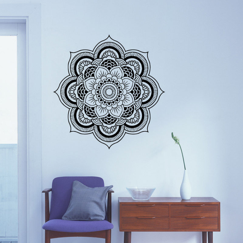 Removable Mandala Vinyl Wall Stickers Flower Vinyl Wall Decor Indian Wall Sticker Bedroom Decor Design Artistic Wallpaper SA402