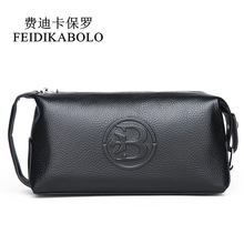 FEIDIKABOLO 100% Genuine Leather Men wallet Clutch Bags Mens Handy Bag Portable Long Male Purses Carteira Masculina Man Purse