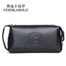 Feidikabolo 100% 本革メンズ財布クラッチバッグ紳士ハンディバッグポータブルロング男性財布carteira masculina男財布