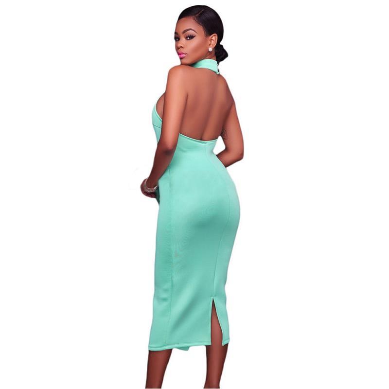 ADEWEL 2017 Women Big Ruffles Midi Elegant Dress Sexy Open Back Bodycon Party Dress High Neck Vintage Pencil Dress 10