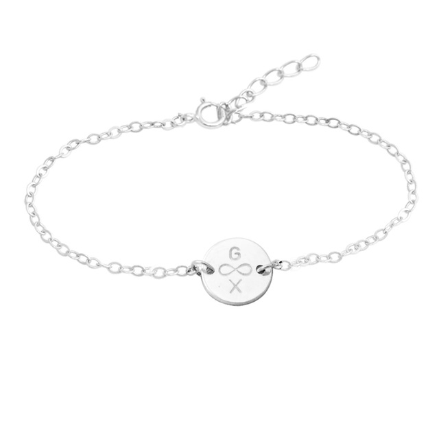Personalized Tiny Disc Bracelet Infinity Custom Dainty Letter Bridesmaid Gift