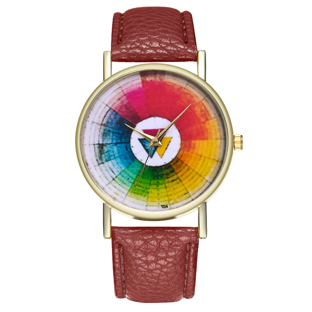 dec318d34a4 Vintage Color Wheel Swatch Women Casual Watches Fashion Montre Femme 2018  New Leather Stainless Steel Ladies Quartz Watch  NE822-in Women s Watches  from .