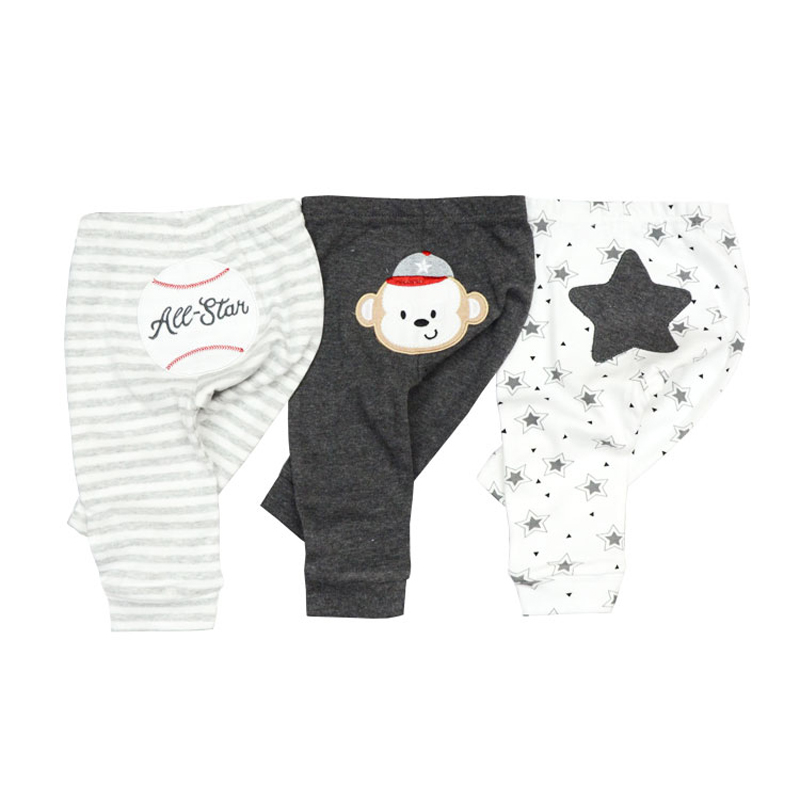 2020 3/4PCS/LOT 0-12M Newborn Cotton Infant Solid Baby Pants Spring Autumn Summer Winter Cartoon Baby Gril Pants Baby Boy Pants