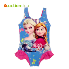 Actionclub Character Kids Swimming One Pieces Baby Girls Bathing Suit Children 2016 Summer Swimsuit Elsa Anna Swimwear KW071