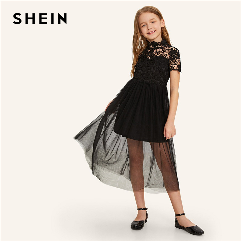SHEIN Kiddie Black Stand Collar Guipure Bodice Mesh Overlay Girls Party Dress 2019 Summer A Line Flared Kids Dresses For Girl