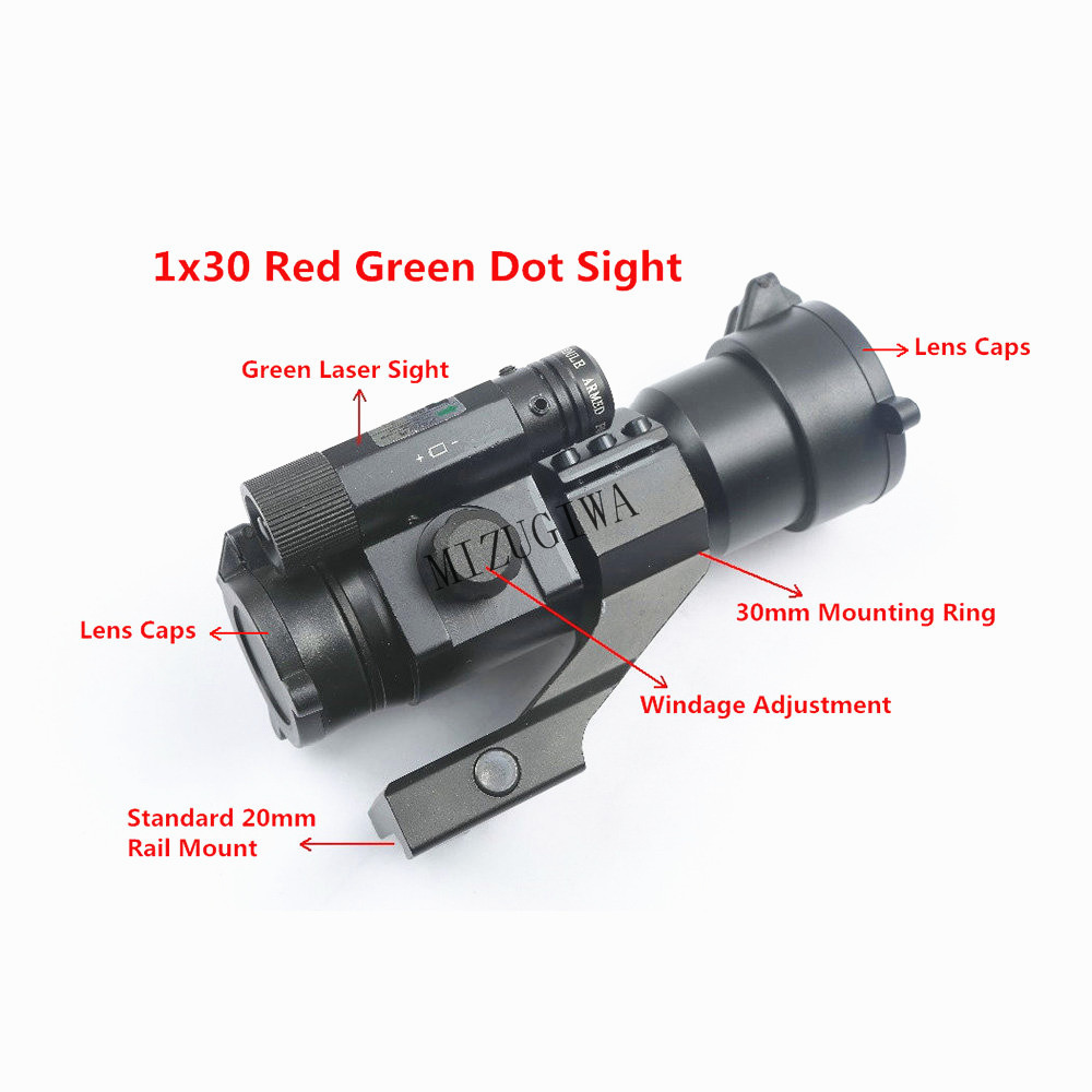 Tactical 1x30 Red Green Dot Sight Optical Scope with Green Laser Sight 20mm Mount Rail Ring for Hunting Riflescope Rifle GunTactical 1x30 Red Green Dot Sight Optical Scope with Green Laser Sight 20mm Mount Rail Ring for Hunting Riflescope Rifle Gun