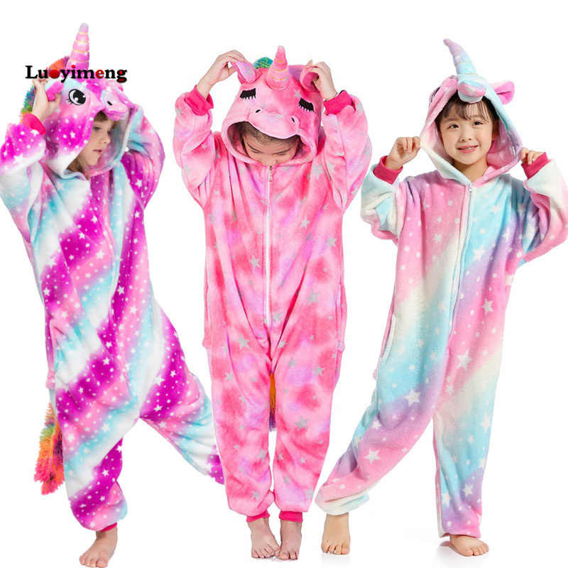 5e8adacac New Girls Unicorn Kigurumi Onesie Kids Pajama Animal Cartoon Rainbow Star  Unicornio Sleepwear Child Hooded Halloween