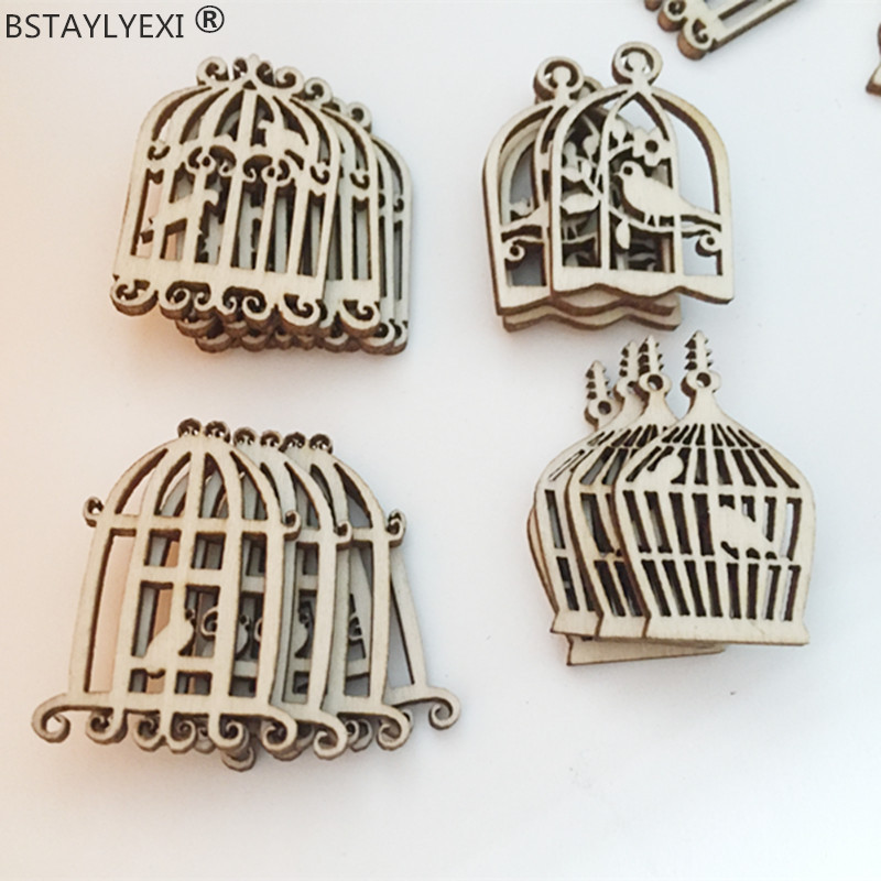 new Styles big Wood Birdcage Shapes Chic Wooden Embellishment Scrapbooking Craft DIY Wind Chimes Wedding Home Decorations