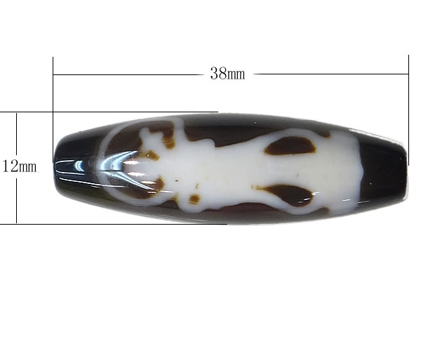Amulet Green Ferry Pattern AAA Grade Agate Natural Tibetan Dzi Beads Oval 13x38mm Hole:Approx 2mm Free Shipping