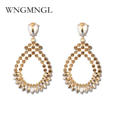 WNGMNGL New Dangle Earrings For Woman Red Black Crystal Water Drop Handmade Big Earring Long Pendants Hot Sale Jewelry Brincos