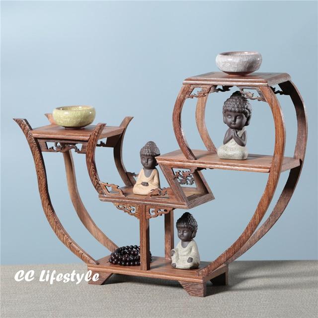 Exquisite Wooden Art Craft Teapot Shelf Exhibit Display Holder Vintage Home  Decor Sculpture Stand Holder Storage