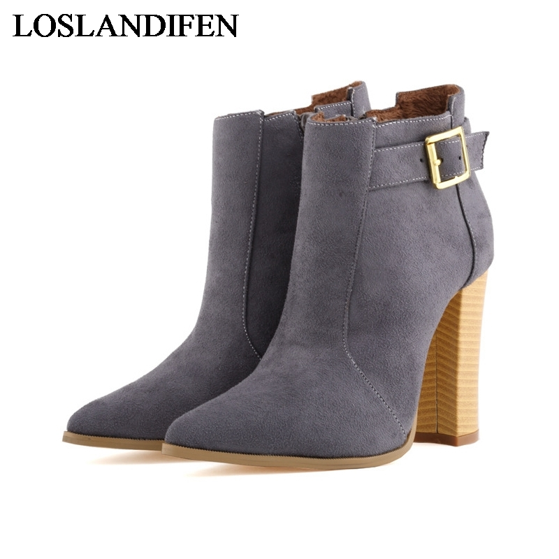 Pointed Toe Brand New Fashion Shoes Stilleto Pumps Sexy Ankle Boots Buckle Short Boots Plus Size Party Boots Shoes NLK-B0103 new 2017 spring summer women shoes pointed toe high quality brand fashion womens flats ladies plus size 41 sweet flock t179