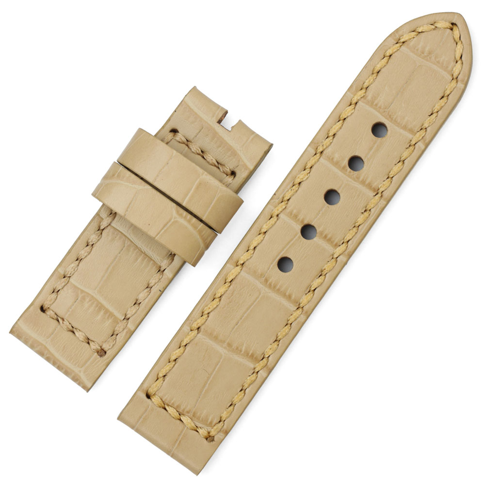 CHIMAERA 24mm Watch Band Genuine Leather Waterproof  Durable Watch Belt Strap Beige For 24mm Bracelet For Mens