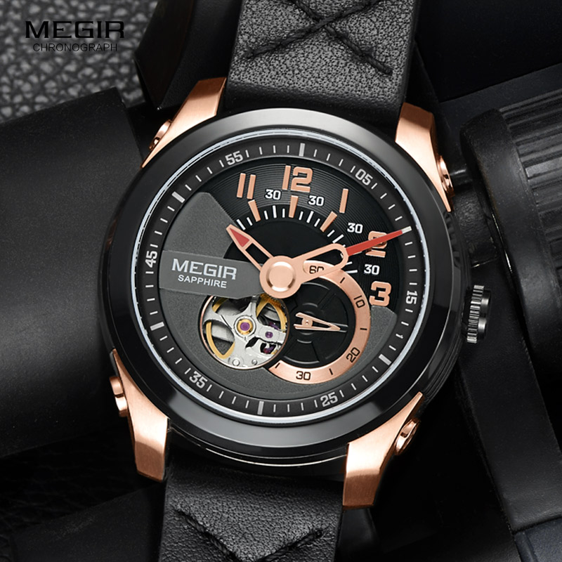 MEGIR Men s Fashion Black Leather Strap Mechanical Watches Fashion Rose Gold Waterproof Analogue Wristwatch for