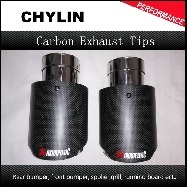 1 Pair 63mm / 101mm universal carbon fiber trimmed stainless steel akrapovic exhaust tip for car exhaust system pipe styling