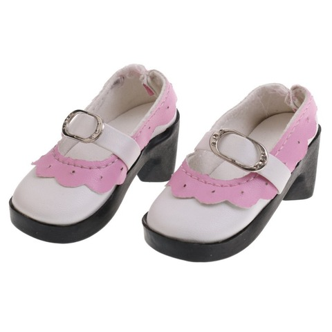 1 Pair Lace up PU Leather Lolita Strap Shoes Block Heel Shoes for 1/3 BJD SD AOD Dollfie Doll Shoes Doll Clothes Accessories Multan