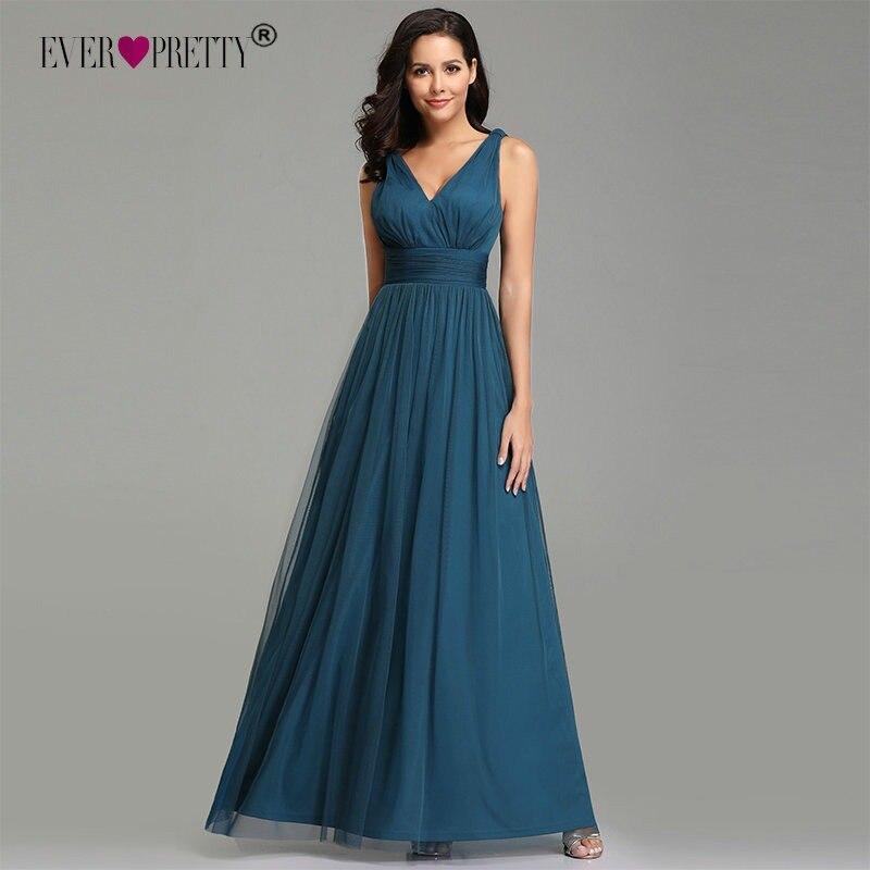 06a656f31b4 Prom Dresses 2019 Ever Pretty EB07657 Elegant A-line V-neck Teal Tulle  Sleeveless