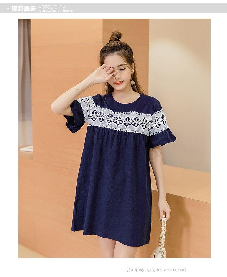 4fe0c419ee024 Pengpious Pregnant women 2019 spring/summer dress maternity loose design  cotton linen a-line dress lace patchwork brief dresses
