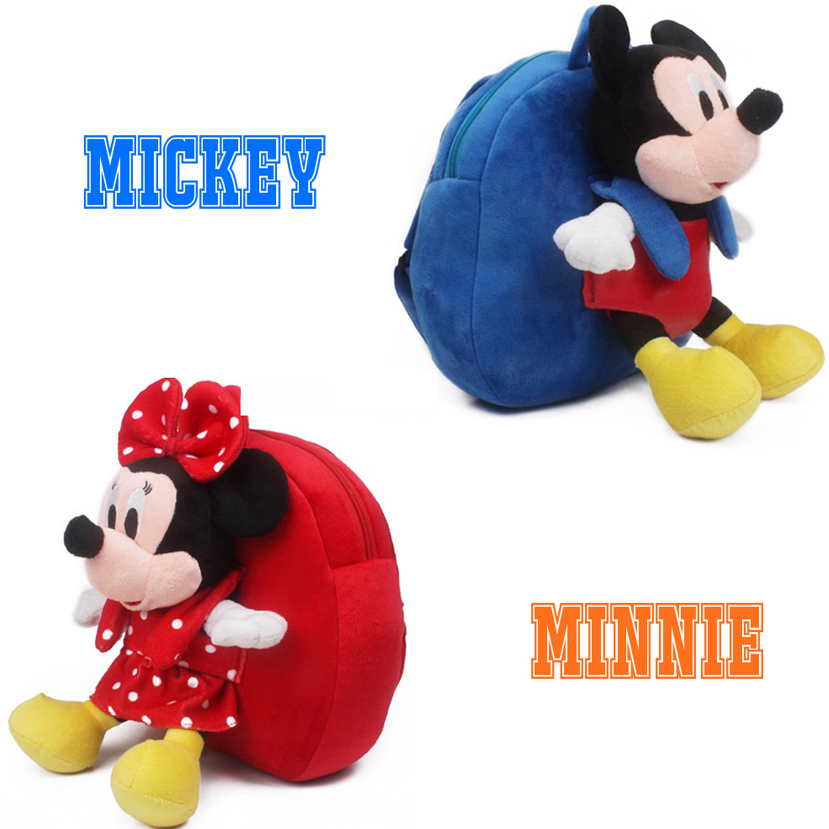 2017 New Middle Size Mickey Minnie Schoolbag Backpack Children Mochila Bags Kids Plush Backpack for Birthday Christmas Gift
