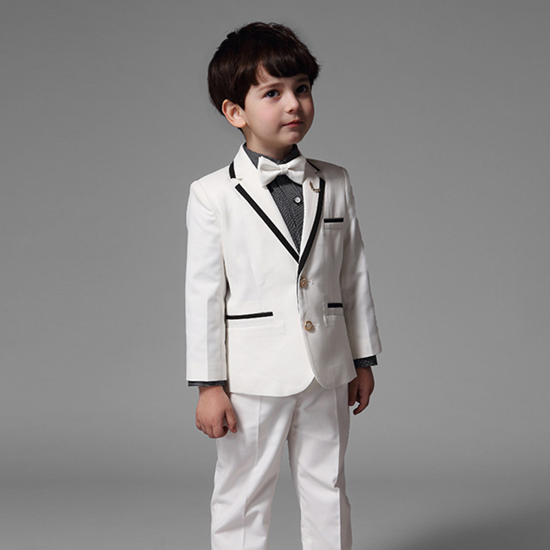 White Children Boy Suit Autumn Spring Boys Formal Suits Performance Birthday Clothing Outwear Pants Shirt kimocat boy and girl high quality spring autumn children s cowboy suit version of the big boy cherry embroidery jeans two suits