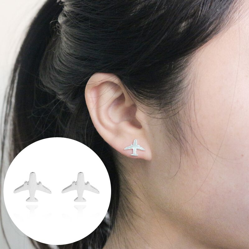 Minimalist Airplane Earrings For Women Simple Gold Silver Metal Mini Aircraft Stud Earrings Earings Fashion Jewelry Gift Brincos
