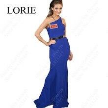 Robe De Soiree Schulter Sexy Frauen Mermaid Lange Abendkleider 2016 neue Royal Blue Kleid Für Prom Party Kleider Goldene Schärpe