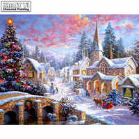 Full Square drill 5D DIY Diamond painting Christmas atmosphere Embroidery Mosaic Cross Stitch Rhinestone decor HYY