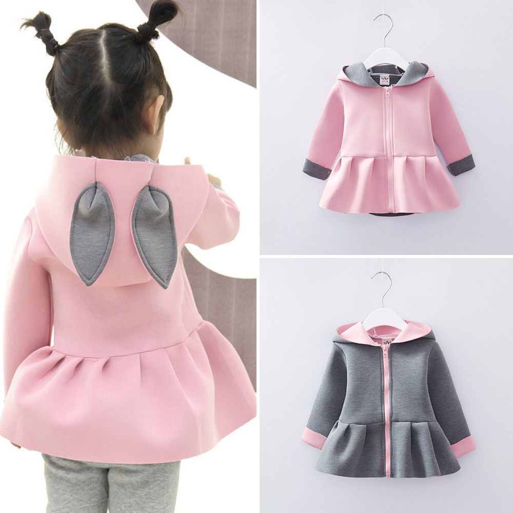 Baby Girls Rabbit Ear Hooded Coats Clothes Long Sleeve Zipper Autumn Winter Outwear
