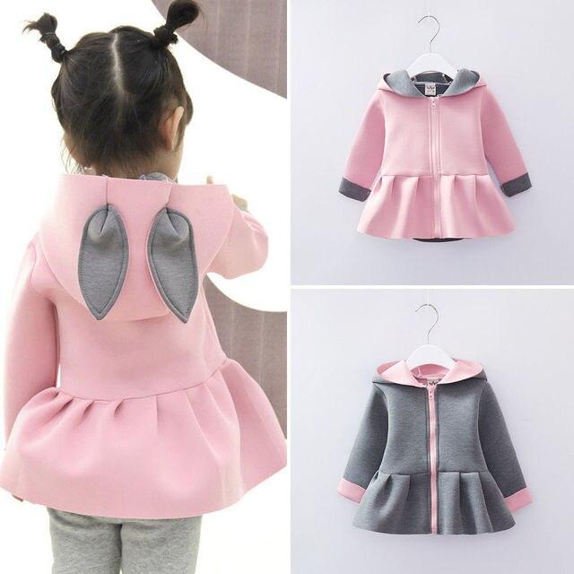 Baby Girls Rabbit Ear Hooded Coats Clothes Long Sleeve Zipper Autumn Winter Outwear