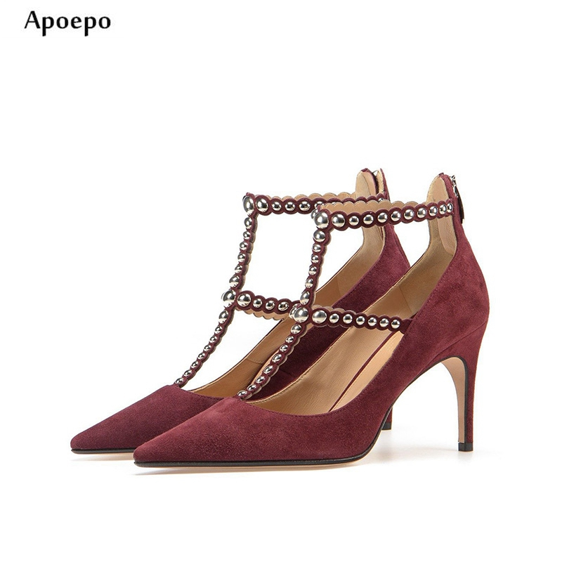 New Newest Rivets Studde high Heel Shoes Sexy Pointed toe T-strap Woman Pumps 2018 Wine Red Suede Stiletto Heels Dress Shoe