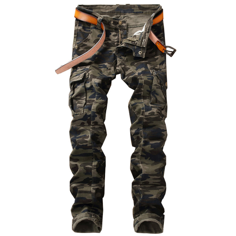 Biepa New Fashion Men's Camouflage Cargo   Jeans   Pants Military Style Camo Tactical Biker Denim Trousers For Man Multi Pockets