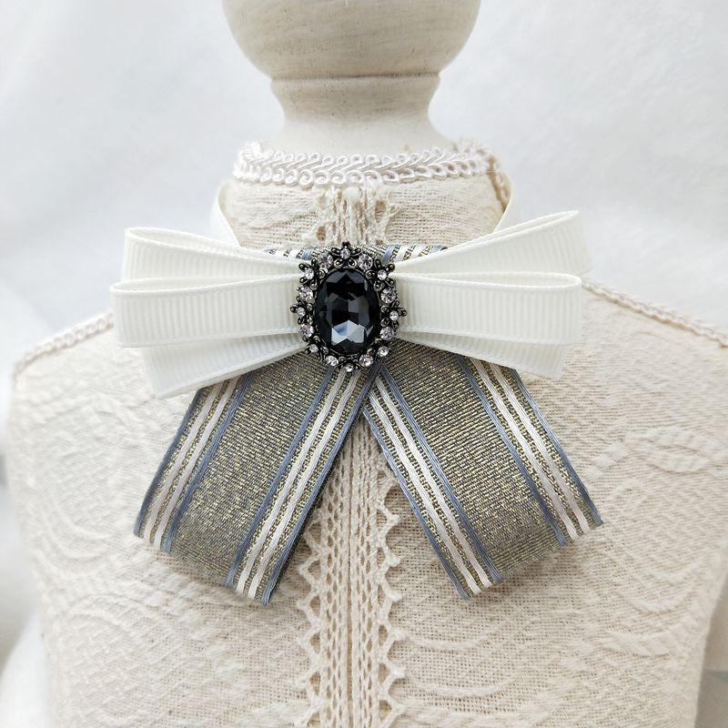 Free shipping woman New fashion necktie Silver small onion with diamond torus Korean female college wind shirt small bow tie