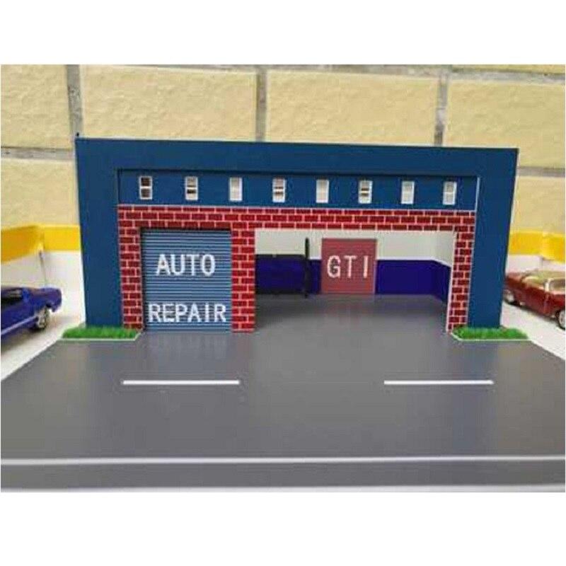 Car Repair Shop Model 1:64 Scale Outland Building Model Street Scenery Layout Kit