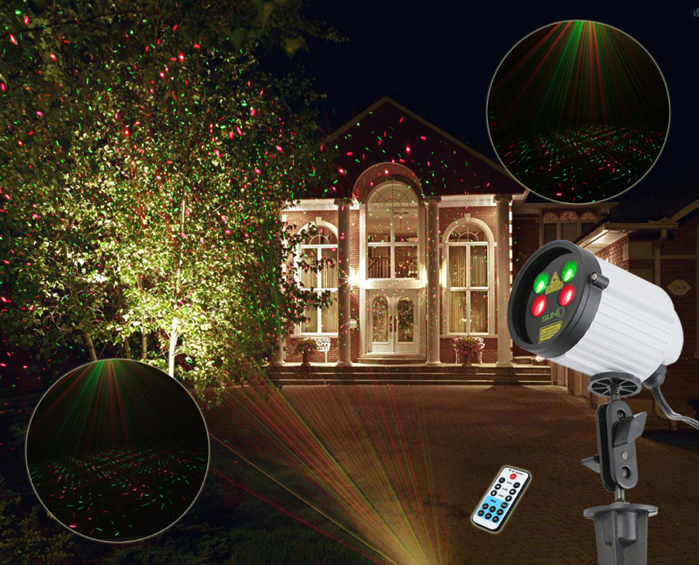 SUNY Double Coverage Outdoor Laser Projector Waterproof Red Green Light JF07-100RGRG Wider Angle Garden Xmas Holiday Party Star