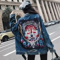 Runway Denim Jacket Women Oversized Vintage Ethnic Sequin Embroidery Jeans Boyfriend Coat Long Sleeve Outerwear Jacket for Women