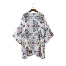 Summer Beach Women Chiffon Cover Up Geometric Kimono Blouse Lady Party Tops summer autumn long cover up women vintage floral tassel beach cover up tops chiffon blouse shirts 456